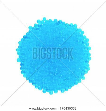 Round pile of blue soil water beads isolated over the white background