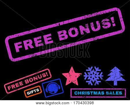 Free Bonus exclamation text rubber seal stamp watermark with bonus new year symbols. Tag inside rectangular banner with grunge design and scratched texture.
