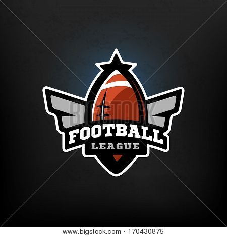 American football sports logo Football League. Vector illustration.