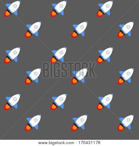 Shuttle or rocket in flight vector. Spacecraft pattern seamless background illustration