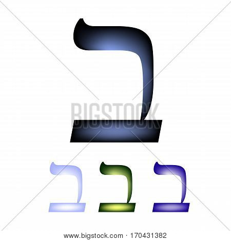 Hebrew font. The Hebrew language. Letter vet. Vector illustration on isolated background.