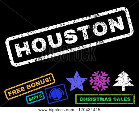 Houston text rubber seal stamp watermark with bonus new year symbols. Tag inside rectangular shape with grunge design and unclean texture.