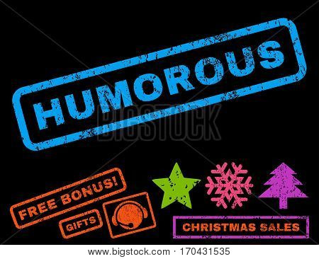 Humorous text rubber seal stamp watermark with bonus christmas symbols. Caption inside rectangular banner with grunge design and dust texture.
