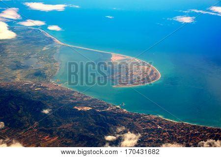 Deltebre Aerial Delta Ebro river in Tarragona of Spain Catalonia