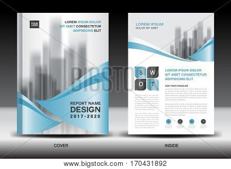 Annual report brochure flyer template, Blue cover design, business flyer template, book, newspaper, magazine ads, booklet,catalog