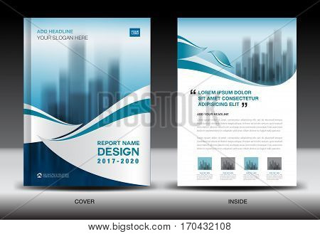 Annual report brochure flyer template, Blue cover design, business, newsletter, book, magazine ads, booklet,catalog, infographics