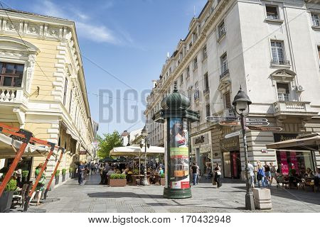 BELGRADE, SERBIA, JULY 2, 2014: Knez Mihailova Street is the main pedestrian and shopping zone in Belgrade, and is protected by law as one of the oldest and most valuable landmarks of the city.