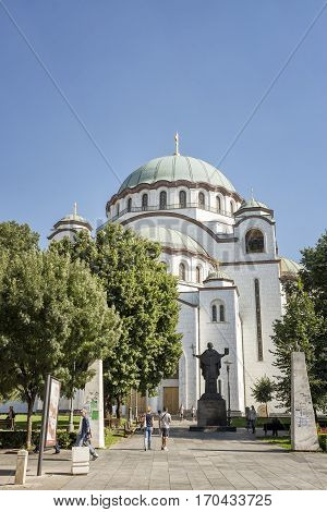 BELGRADE, SERBIA, JULY 3, 2014: Exterior shot from Church Of Saint Sava, a Serbian Orthodox church located on the Vracar plateau in Belgrade.