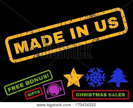 Made In Us text rubber seal stamp watermark with bonus new year symbols. Caption inside rectangular shape with grunge design and dust texture.