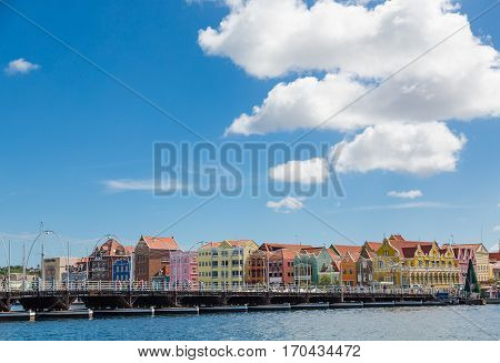Colorful waterfront architecture on the island of Curacao