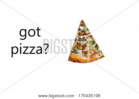 Pizza. Buffalo Chicken Pizza with Chicken Sausage and Pineapple. Isolated on white with room for your text.