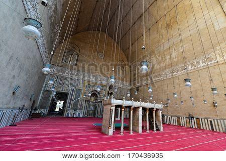 CAIRO, EGYPT - 18 OCTOBER 2015 :Mosque - Madrassa of Sultan Hassan, a Mamluk era mosque and madrassa found in 757 AH/1356 CE