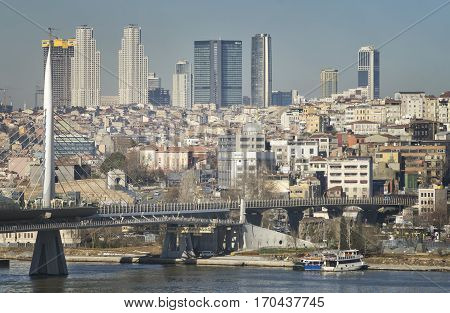 ISTANBUL, TURKEY, JANUARY 13, 2017:  Golden Horn Bridge,  a cable-stayed bridge along the M2 line of the Istanbul Metro, spanning the Golden Horn in Istanbul, Turkey.