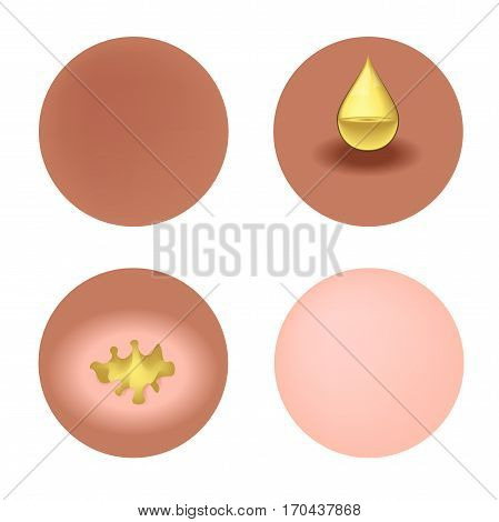 gold whitening collagen lotion make the skin white vector