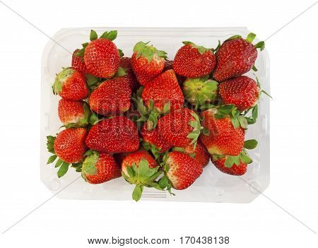 Box of fresh strawberries on a white background