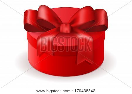 Red round gift box. Decorated with silk ribbon bow. Vector illustration isolated on white background
