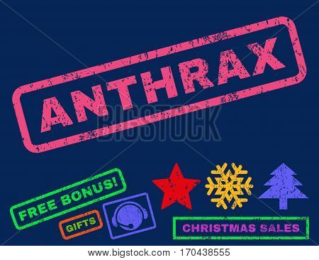 Anthrax text rubber seal stamp watermark with bonus christmas symbols. Tag inside rectangular banner with grunge design and dust texture.
