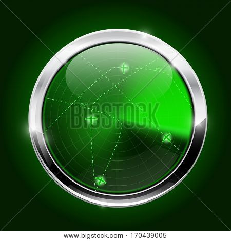 Radar. Green light scanning. Vector illustration on green background