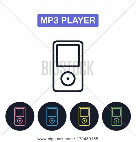 Vector MP3 player icon. Gaget imaige. Simple thin line icon for websites web design mobile app infographics.