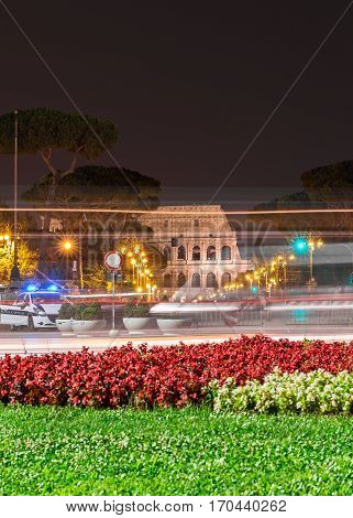 view of the coliseum in the night