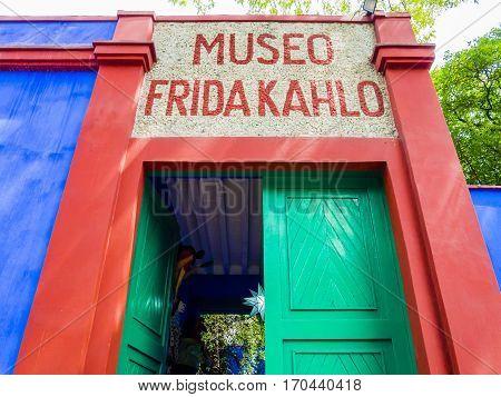 Entrance of Frida Kahlo Museum (also known as the Blue House - La Casa Azul), Coyoacán borough, Mexico City