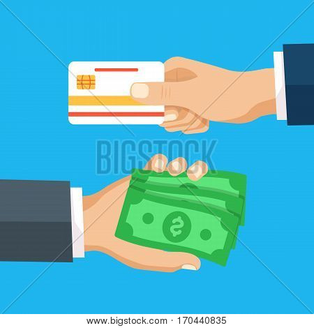 Hand with credit card and hand with cash money. Modern flat design concepts for web banners websites. Vector illustration on green background in flat design.