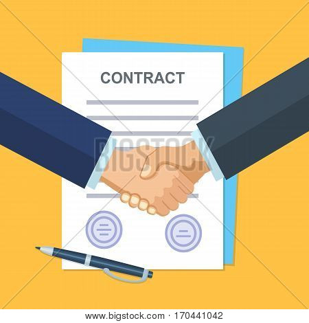 Business partner handshake deal contract meeting. Background for business and finance. Modern flat design concepts for web banners, websites, printed materials, infographics. Vector illustration.