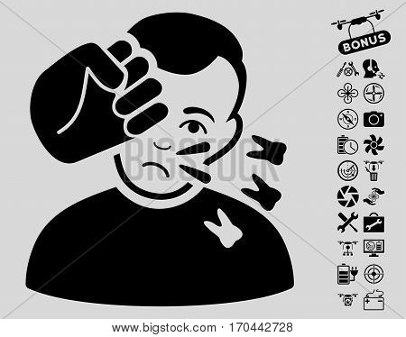 Head Strike pictograph with bonus quad copter service icon set. Vector illustration style is flat iconic black symbols on light gray background.