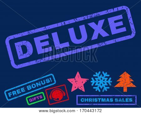 Deluxe text rubber seal stamp watermark with additional bonus new year symbols. Caption inside rectangular shape with grunge design and unclean texture.