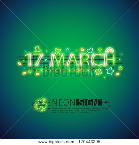 Glowing neon 17 march sign for St Patricks day. Used neon brushes included. There are fastening elements in a symbol palette.