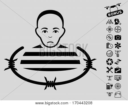 Isolated Prisoner pictograph with bonus aircopter tools graphic icons. Vector illustration style is flat iconic black symbols on light gray background.