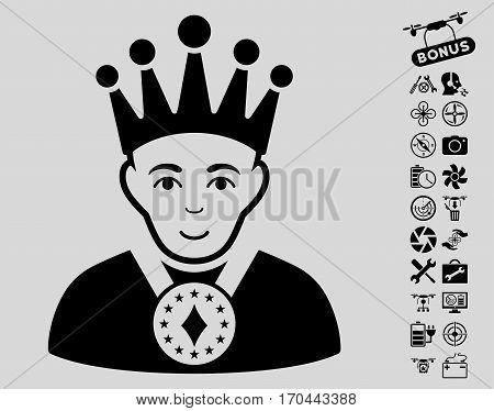 King icon with bonus uav service pictograms. Vector illustration style is flat iconic black symbols on light gray background.