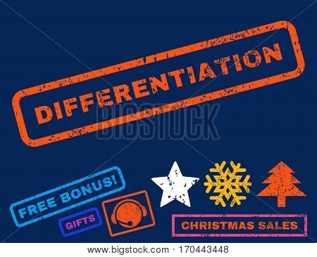 Differentiation text rubber seal stamp watermark with additional bonus new year symbols. Caption inside rectangular banner with grunge design and dirty texture.