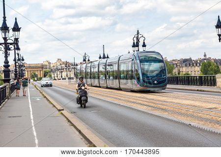 Modern City Tram In Bordeaux