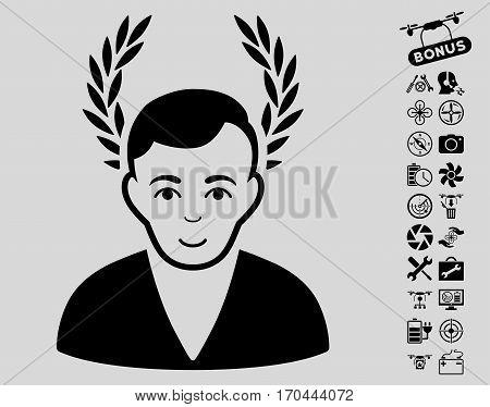 Man Glory pictograph with bonus quad copter service icon set. Vector illustration style is flat iconic black symbols on light gray background.