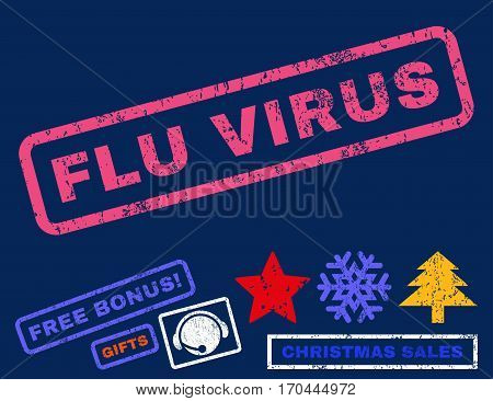 Flu Virus text rubber seal stamp watermark with bonus christmas symbols. Tag inside rectangular shape with grunge design and scratched texture.
