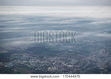 Aerial view of Paris suburbs in winter, France