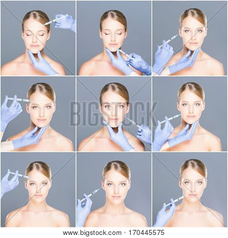 Doctor injecting in a beautiful face of a young woman. Plastic surgery concept. Set collection.