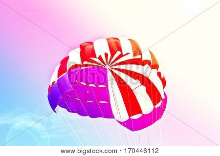 Close up of parachute on sky background