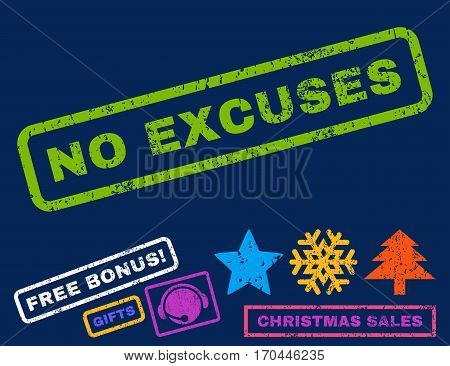 No Excuses text rubber seal stamp watermark with additional bonus christmas symbols. Caption inside rectangular banner with grunge design and unclean texture.