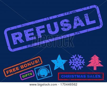 Refusal text rubber seal stamp watermark with additional bonus christmas symbols. Tag inside rectangular shape with grunge design and scratched texture.