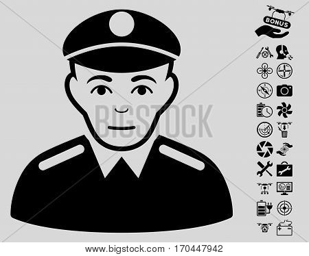 Soldier icon with bonus flying drone tools design elements. Vector illustration style is flat iconic black symbols on light gray background.