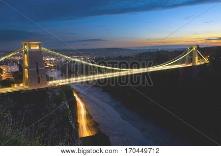 Bristol suspension bridge during the late sunset