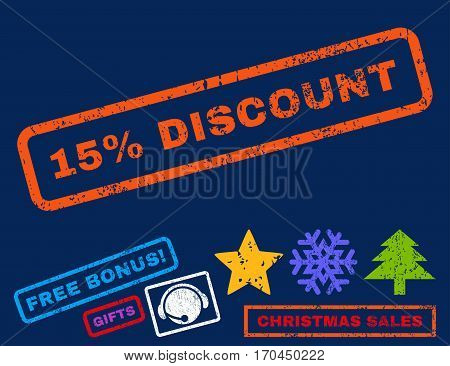 15 Percent Discount text rubber seal stamp watermark with bonus christmas symbols. Tag inside rectangular banner with grunge design and dirty texture.