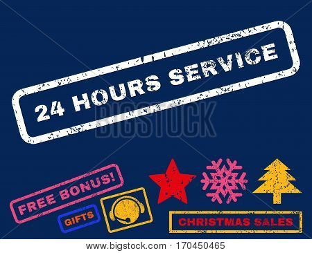 24 Hours Service text rubber seal stamp watermark with bonus christmas symbols. Tag inside rectangular shape with grunge design and dirty texture.