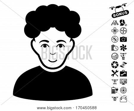 Brunet Man pictograph with bonus nanocopter tools images. Vector illustration style is flat iconic black symbols on white background.