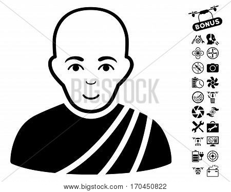 Buddhist Monk pictograph with bonus aircopter service pictures. Vector illustration style is flat iconic black symbols on white background.