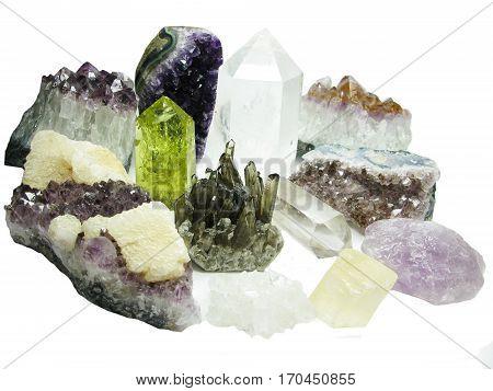 amethyst citrine quartz set semigem geode crystals geological mineral isolated