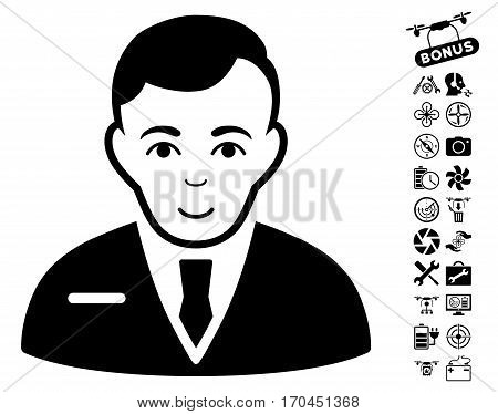 Businessman icon with bonus drone service clip art. Vector illustration style is flat iconic black symbols on white background.