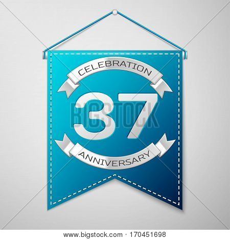 Blue pennant with inscription Thirty seven Years Anniversary Celebration Design over a grey background. Silver ribbon. Colorful template elements for your birthday party. Vector illustration